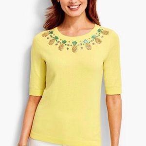 Talbots Yellow Pineapple Embellished Sweater Sz XL